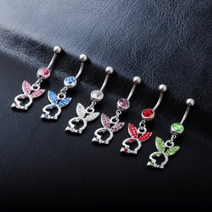 D0255 (6 colores) piercing del cuerpo del botón de vientre anillos del ombligo perforación del cuerpo joyería cuelgan los accesorios de la manera del encanto del conejo de 20 PCS