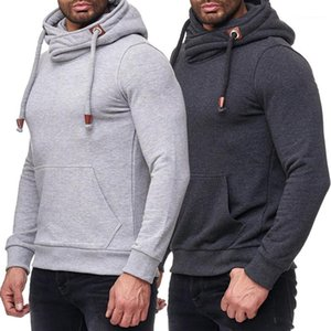 Mode Pullover Langarm Männer Kleidung Solid Color Mens Designer Hoodies beiläufig Panelled Turtleneck Mens Hoodies