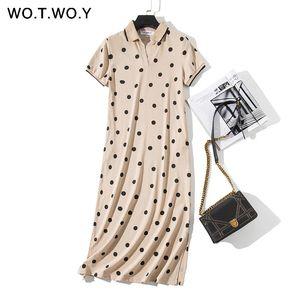 Wotwoy Summer Polo Shirt Dress Women Dot Print Plus Size Loose Cotton Maxi Dresses Pocket Short Sleeve Black Apricot Long Dress MX19070401