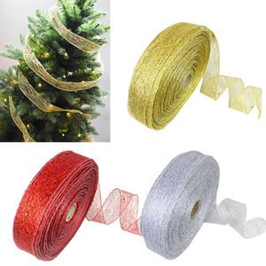 200 * 5cm Oro e Argento in raso di seta nastro metallico Luster decorazione della festa nuziale regalo di Natale Capodanno decorazione di DIY Materiale