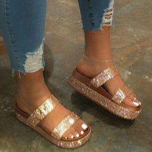 Rimocy Goldkristall Gladiator Sandalen Frauen 2020 Sommer starke untere Keil-Fersen Schuh-Frauen-Silber Strass Slippers Strand