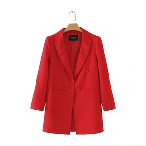 Frauen Shrug Lange Blazer Langarm Reverskragen Fest Rot Schwarz Oberbekleidung Büro-Dame Arbeitskleidung Grund Chic Tops Ca093