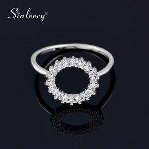 SINLEERY mariage simple cercle ronde doigt Anneaux couleur argent cristal Inlay anneaux pour femmes Bijoux Parti JZ023 SSD