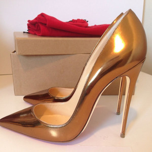 extra size 33 to 42 to 46 red bottom beige patent leather pointed toe thin heels High Heels Pumps luxury women designer shoes