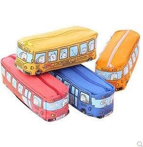 Студенты пенал 4 цвета Bus Box Карандаш Сумки Cartoon Cute Студенты Назад в школу Канцелярские товары Дети Дни Рождения Подарки 08