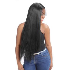 Tam Yoğunluk Düz Dantel Ön Sentetik Saç Peruk ile Bangs İçin Siyah Kadın Yok Remy HD Dantel Frontal Peruk ile Bangs