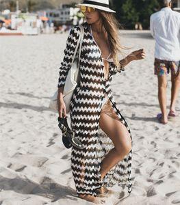 Bikini Eté Cover-Ups Femmes Long Zebra Rayé Beach Prevent Cardigan Maillots De Bain Longueur Cheville Rash Guards Canga saida de beach