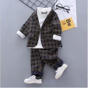 2020 nuevos más vendidos primavera y otoño caballero 0-5 años de edad, muchacho ojos comprobar pequeño juego de pantalones largos de la manga de tres ventas directas traje de una pieza