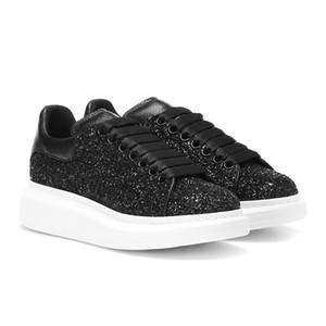 Pelle bianca Moda posteriore nero piattaforma scarpe da tennis piane scarpe casuali lace up addestratori di sport scarpe da ginnastica donne bianche con la scatola