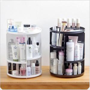 360 rotante trucco organizzatore scatola di immagazzinaggio plastica regolabile spazzole cosmetiche rossetto titolare make up contenitore di gioielli stand