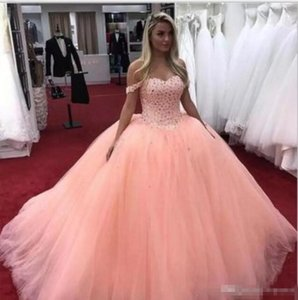 2019 Ball Gown Quinceanera Dresses Off Shoulder Sweep Train Major Beading Party Prom Gowns For Sweet 16 Dresses