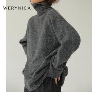 Werynica Frauen Herbst-Winter-Kaschmir Turtleneckstrickjacke koreanischen Stil gemütlich Gestrickte warme weibliche Pullover übergroßen Frauen Pullover
