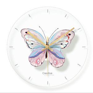 Wall Clock Minimalist Quartz Watch Flower Butterfly Painting Wall Clocks Home Decoration Living Room Silent 12 Inch