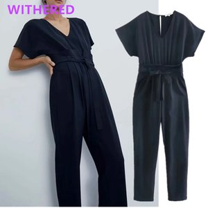 Withered england style office lady simple solid sashes cargo loose jumpsuit women rompers womens jumpsuit combinaison femme