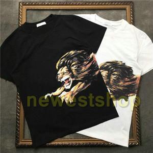 NEW лето дизайнера бренда Top Mens Lion печать футболка вышивки письмо печать тенниска конструктора тенниска тройник способ высокого качество МАЙКА