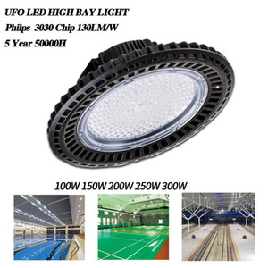 2019 LED High Bay UFO Light 100W 150W 200W 250W 300W Waterproof Black Circular Lamp Factory Warehouse 110V 220V Overhead Luminaire