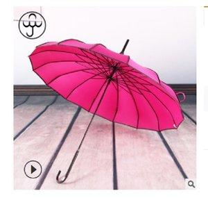 2020 venda quente 16K alça longa reta pólo nupcial guarda-chuva ao ar livre guarda-sol longa-handle guarda-chuva à prova de vento guarda-chuva Baobian pagode rosa vermelha