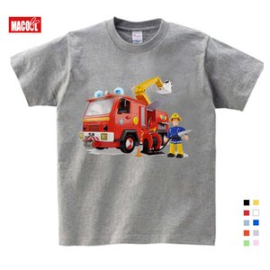 2020 Los niños de dibujos animados bombero Sam Imprimir las camisetas de algodón para la camisa Niño Niña camiseta de manga corta Tops Ropa Niños ropa 3T-9T Y200704