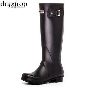 DRIPDROP Original Women's Rain Boots Hurricane Wellie Waterproof Black Matte Hi-Calf Wellies Wellington Boots