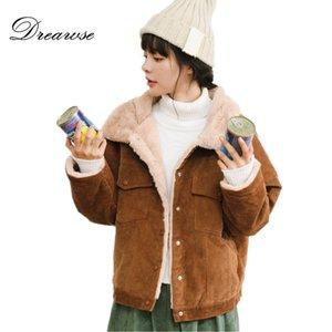 Dreawse Winter Women New Lambswool bavero più velluto ispessimento stile harajuku studenti sciolto velluto a coste cotone cappotto caldo MZ3220