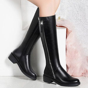 Buckle Strap Knight Boots Women Side Zip Long Tube Shoes Woman 2019 Autumn Winter Casual Square Heel Long Tube Booties
