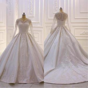 2020 arabe baguettes robe de bal robes de mariée dentelle appliques perles robes de mariée avec manches longues bouton retour balayage train personnalisé BC2417