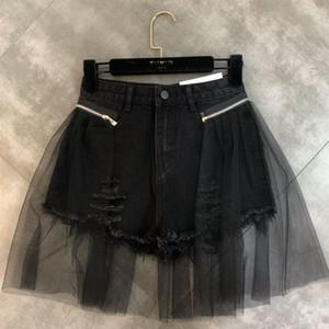 DEAT 2020 della molla nuovi arrivi a vita alta Mesh Patchwork Zipper Black Denim shorts Streetwear Donne MI776