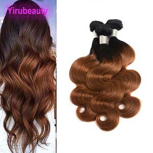 Malásia 100% cabelo humano Três Pacotes 1B / 30 Ombre Hair Extensions onda do corpo em linha reta Atacado 1B 30 tingidos baratos produtos de cabelo