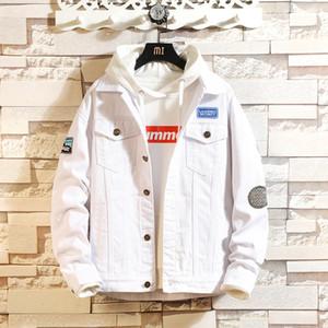 MYAZHOU Bahar Sonbahar erkek Eğlence Saf Beyaz Ceket, Moda Mektup Baskı Artı Boyutu Denim erkek Eğilim Gençlik Ceket erkekler