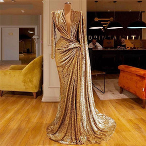 2020 New Mermaid Evening Dress Dubai African Party Gown Sequined Gold Prom Dresses With Deep V Neck Pleats Long Sleeves