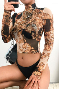 Womens Sexy See Through T-shirts Fashion Designer imprimé floral Skinny Mesh T-shirts sexy haut Colalr hauts écourtés
