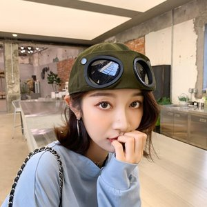 Новая мода весна лето универсальный антисан шляпа черные очки пилот бейсболка