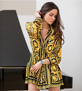 Nuove donne popolari Camicia Dress Fashion Vintage Print Ladies Sexy Robe Femme Summer Sexy Dress donna