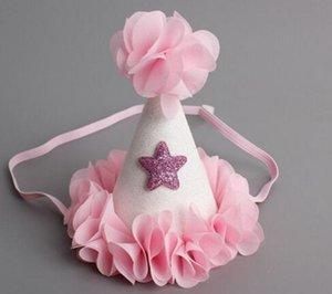 Bandas niñas niños de Navidad del pelo del partido de ducha de bebé cumpleaños de la flor de gasa Cono sombrero de princesa Crown Tiara Diadema estrella