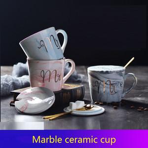 Marmor Keramik Cup MR MRS-Becher Kaffee-Milch-Paare Cup Keramik Wasserglas Cup 400ml Frühstück Tassen