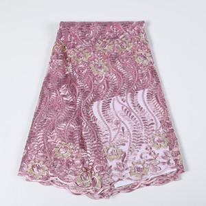 Новые африканской свадьбы кружева ткани синего бисер кружево вышивка нигерийские ткани высокого качество полиэстер кружево тюль ткань fs0044