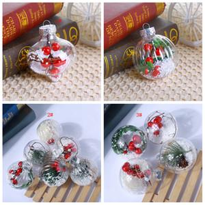 3styles Transparente bola de Navidad de Navidad de plástico redonda FFA3010 los ornamentos del árbol ornamentos de las bolas colgantes decoración del hogar de niños fiesta del partido del favor