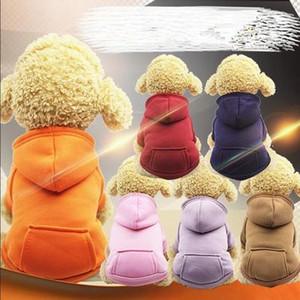 Roupas cão de estimação Aqueça Brasão Dog Hoodies bolso Casacos Pet Puppy Macacões Pequenas cão traje Animais Roupas Pet Supplies EEA885