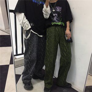 Ropa de hombre Textura de serpiente vintage pantalones para hombre harajuku sueltos pantalones de chándal unisex pantalones de pierna ancha hombres streetwear New Spring BF