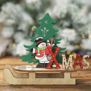 DIY Montagem De Madeira Artesanato de Mesa de Trenó De Natal Enfeites de Decoração de Festa de Feriado Interior Adornos De Navidad Kerst Decoratie