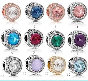 Hot fit Authentic Real 925 Sterling Silver DIY Bracelet Cubic Zirconia European Charms Bead Fit pan Chain pink color Fashion Jewelry