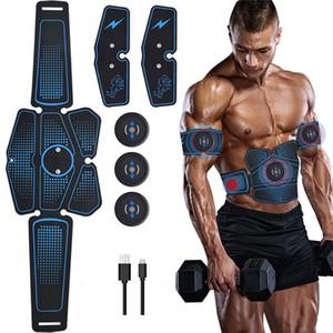 6PCS 무선 근육 자극기 트레이너 스마트 피트니스 복부 훈련 전기 체중 감량 스티커 바디 슬리밍 벨트 USB 충전