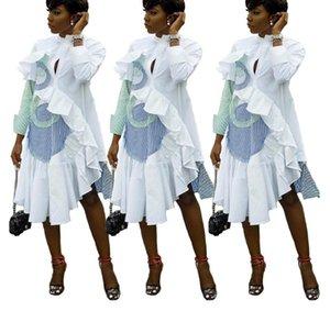 ASB9219 jupe chemise pour femmes Vêtements bande Loisirs Splicing bord Lotus feuille Irrégularité Jupe Robe à manches longues B9219