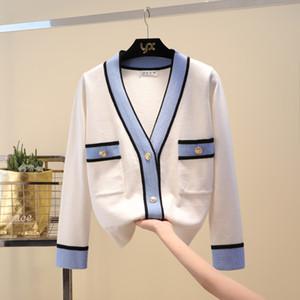 Designer di lusso a maglia maglione di marca per le donne collo a V bottoni a contrasto colore lavorato a maglia Cardigan Y191004