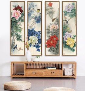 Şakayık, Çin Ulusal Güzellik ve Göksel Parfüm, Unframd Tuvalin Boyama Geleneksel Çin Baskı Poster Y200102 Boyama