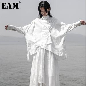 [EAM] 2019 New Herbst-Winter-Revers Langarm Weiß losen Aufmaß unregelmäßiges loses Shirt Frauen Bluse Fashion Tide JS921