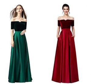 Smoothest 2021 Зеленый красный дешевый невесты платье невесты с плечо с короткими рукавами карманы сатин бархат невесты выпускные вечеринки вечеринки