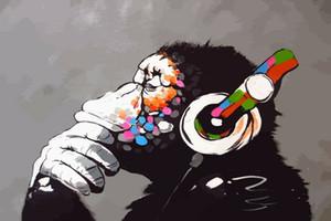 Бэнкси DJ обезьяна с наушниками Home Decor ручная роспись HD печать картины маслом на холсте стены искусства фотографии 191201