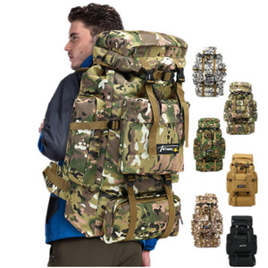 6styles 70L Camo Tactical Backpack Military Army Waterproof Hiking Camping Backpack Travel Rucksack Outdoor Sports Climbing Bag FFA1968