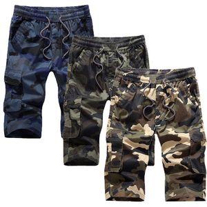 Cargo Shorts camuffamento militare Shorts Homme Estate Autunno casuale outwear Trasporto Camo elastico in vita Men Shorts